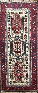 MEMORIAL DEAL Geometric Ivory Heriz Traditional Area Rug Hand-knotted Wool 2'x4'