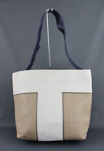 Tory Burch Women's Ivory Beige Navy Leather Logo Color Block Shoulder Bag