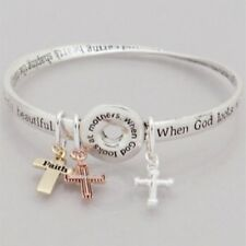 3 Tone Charm Bangle Bracelet with When God Looks at Mothers Inspirational