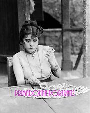 "THEDA BARA 8x10 Lab Photo 1915 ""CARMEN"" Playing Cards, Silent Era Film Portrait"