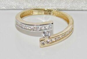 9ct White & Yellow Gold 0.25ct Ladies Engagement Ring size T - UK Hallmarked