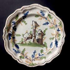 Assiette en faïence du Sud ? à décor d'une forteresse ou château - XVIIIe - XIXe