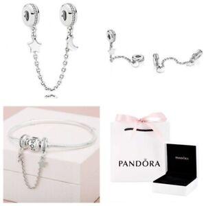 Genuine Pandora Silver Half Moon Star Safety Chain Charm 797512CZ BOX/BAG RRP£55