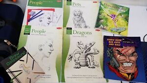 Lot Of 7 Drawing books Dragons Comic Bad Guys Gals Faeries People Dinosaurs Pets