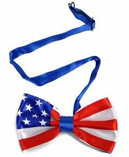 Men's Patriotic American Flag Polyester Pre Tied Bow Tie Neckwear (NFB10001-CSL)