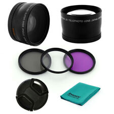 0.45x WIDE LENS, 2x Tele CPL UV FLD Filters, CAP for Canon EOS 58mm EF-S 18-55mm