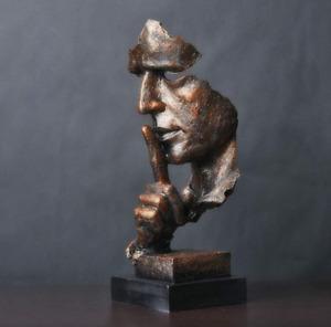 Silence Is Golden Creative Statue Modern Home Decoration Sculpture Resin Craft