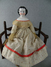 """22"""" antique German Kister China shoulder head Doll with cloth Body"""
