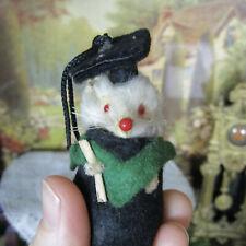 New listing Vtg Dollhouse Handmade Fur Mouse Doll Germany Graduation Costume Miniature 50s