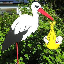 HOLZ-STORCH 110 cm  KLAPPERSTORCH °GESCHENK  mit  BABY GELB ♥