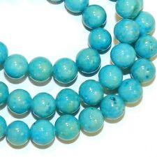 """GR541f Turquoise Blue 6mm Round Gemstone Coral Fossil Riverstone Beads 16"""""""