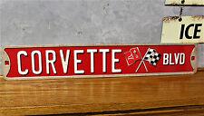 Vintage style CHEVY Corvette Blvd embossed signs stingray garage shop VETTE