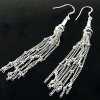 Drop Earrings Real 925 Sterling Silver S/F Hook Antique Dangly Strand Design