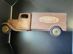 Vintage Large City Delivery Truck  Pressed Steel Craft  Metal 21in Restore Rare