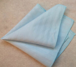 Hankie COTTON Pocket Square Handkerchief MENS Hanky PALE BLUE STRIPED