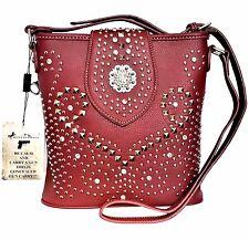 Montana West Concealed Carry Crossbody Messenger Bag American Bling Burgundy