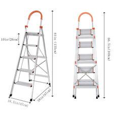 NEW 5 Step Ladder Heavy Duty Folding Stepladder Platform Stool Non-slip Aluminum