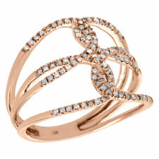 10K Rose Gold Diamond Braided Cross Ladies Right Hand Open Cocktail Ring 0.25 Ct
