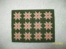 "Doll House Handmade Needlepoint Olive Green Rug w/ Beige Peach Stars 3.5"" x 4.5"""