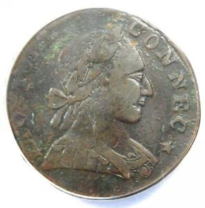 1788 Mailed Bust Right Connecticut Colonial Copper Coin - ANACS VF30 Details!