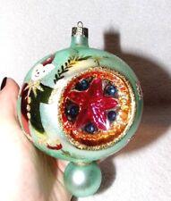 RARE Vintage Christopher Radko Elf 3 Indent Reflector Drop Ball Ornament Signed