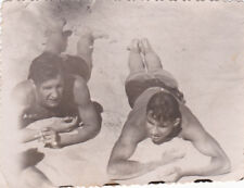 1951 Handsome nude muscle men sunbathing gay interest Russian Soviet photo