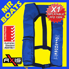 AXIS INFLATABLE LIFEJACKET ✱ BLUE ✱ 150N PFD1 OFFSHORE Boat Manual Life Jacket