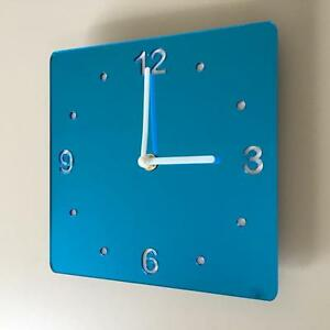 Square Blue MIrror &White Clock (White Backed) White Hands Silent Sweep Movement