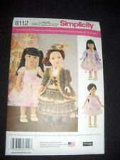 """Simplicity 8112 Pattern 18"""" Doll Clothes Fits American Girl Heigl Victorian"""