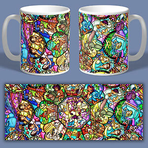 DISNEY CHARACTER INSPIRED STAINED GLASS Ceramic Coffee Mug Tea Cup Best Gift New