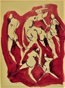 Arnold Weber Modern Abstract Painting Dancing Figures June 1964 Listed NY Artist