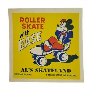 1940-50s Al's Skateland Roller Skating Rink Label Mickey Mouse Sinking SpringPA