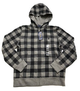 Polo Ralph Lauren Boy's Gray Plaid Hoodie Sweatshirt size 14-16 NWT Orig.$65