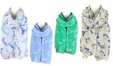 Sea Life series Oblong Scarf - Whale Lot of 12 (3 each of 4 colors)