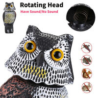 Garden Fake Owl Decoy Bird Rat Rodent Repellent Rotating Head With/Without Sound
