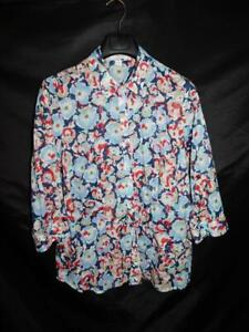 Coldwater Creek 1X 18 Blue Red Purple Floral Blouse No Iron Shirt Lightweight 1X