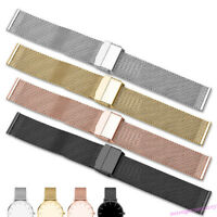Knitting Mesh Stainless Steel Watch Band Link Wrist Strap Clasp 13-22mm -4Colors
