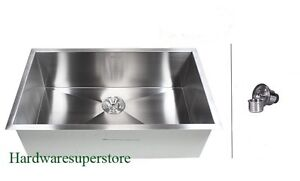 "30"" Stainless Steel Single Bowl Zero Radius 16 Gauge Undermount Kitchen sink"