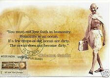 "INDIA 2015 GANDHI CHARKHA MAXIM PICTURE POST CARD ""HUMANITY IS AN OCEAN"""