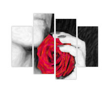 WOMAN AND RED ROSE FRAMED CANVAS PICTURES WALL ART PRINTS 4 PIECE DECO POSTERS
