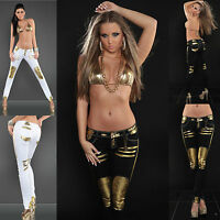 SEXY WOMENS SKINNY JEANS LADIES TROUSER GOLD PRINT CLUBBING PANT SIZE 8 10 12 14
