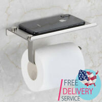 Wall Mount Toilet Paper Holder Stainless Steel Bathroom Tissue with Phone Holder
