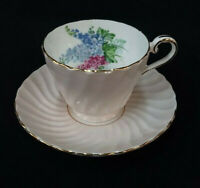 Teacup Saucer Aynsley Pink Swirl Fine Bone China Floral Interior Gold Trim