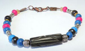 Blue black pink wood bead & tibetan silver beads bracelet with copper tone clasp