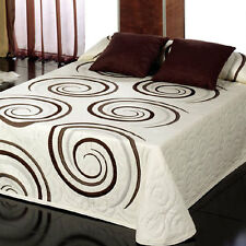 Reversible Double Bed Bedcover Brown Swirl on Cream Gordon