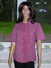 True Fashion tolle Damen Bluse mit Rüschen Baumwolle rot kariert Gr M Neu