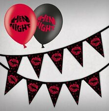 Hen Night Kiss Red & Black Bunting 15 flags & Pack of 25  Printed Asst Balloons