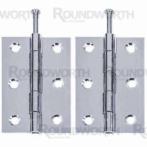 """4 x CHROME LOOSE PIN BUTT HINGE 3""""/75mm Silver Door Frame Cabinet/Cupboard Hang"""