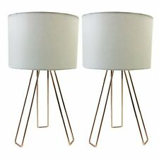 Pair of Copper with White Shade Bedside Light Table Lamps Modern Tripod Lamp