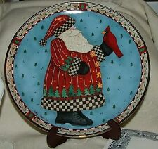 Royal Doulton 1980s Debbie Mumm PLATE Christmas Greeting Santa Red Bird Folk Art
